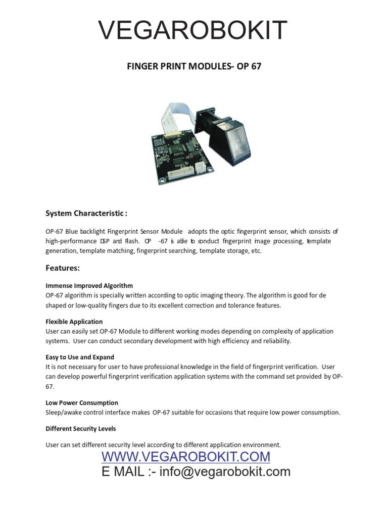 Finger Print Module Op 67 Vegarobokit Fingerprint Usb