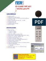 322_Medidor de Sonido Clase 2 IEC 651 Con Datalogger e Inter
