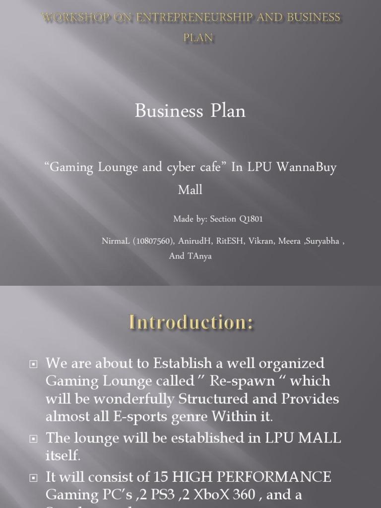 Gaming Lounge Market Plan | Video Games | Gaming
