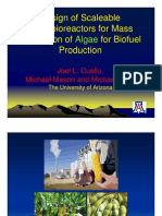 Design of Scaleable Photobioreactors for Mass Production of Algae for Biofuel Production