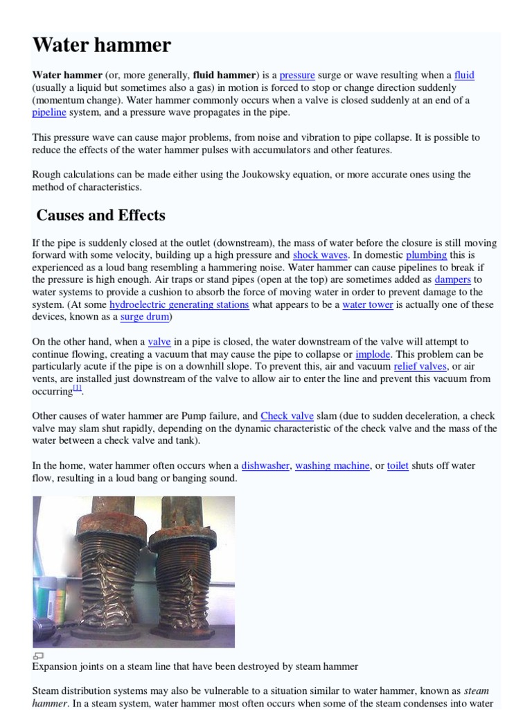 115869000 Water Hammer Calculation Formulas | Materials Science