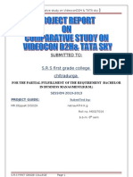 Project Report on Comparative Study on videocon d2h Amp Tata Sky Final