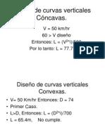 Diseño de curvas verticales Cóncavas