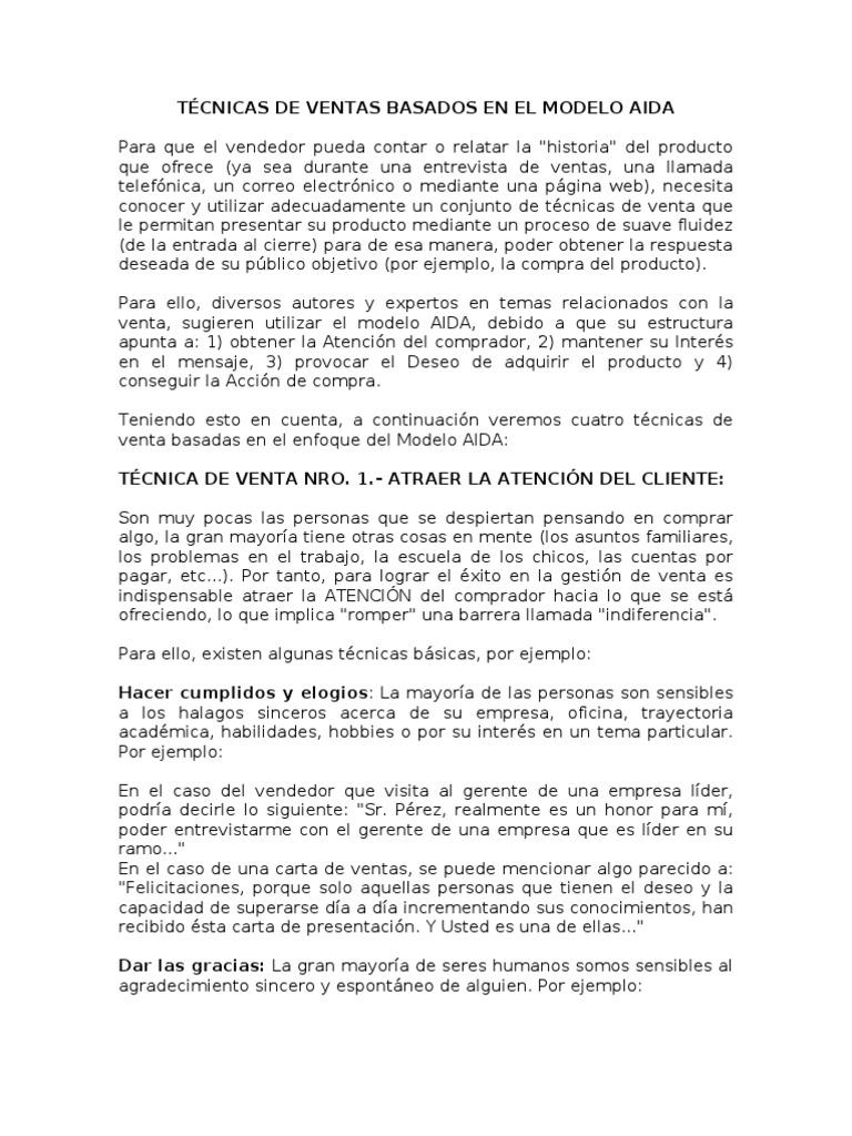 TÉCNICAS DE VENTAS BASADOS EN EL MODELO AIDA