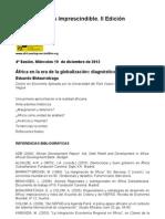 """Guión de la sesión 4, """"Economía y crisis en África"""". Impartida por Eduardo Bidaurratzaga."""
