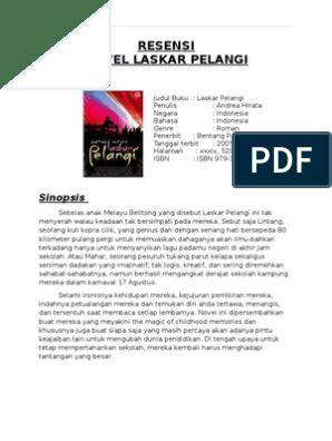 Sinopsis Novel Laskar Pelangi Singkat Dan Jelas