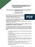 COMUNICADO FINAL SOBRE A MESA REDONDA DO DIA 09.03.13