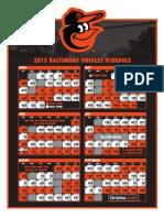 2013 Orioles Schedule