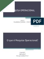 Aula 1 - Introdução à Pesquisa Operacional