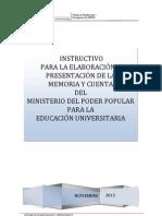 Instructivo Memoria Cuenta 2012