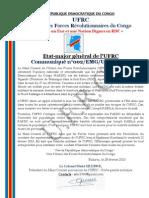 Memo by UFRC on the Peace Accord of Addis Abeba signed on 2013 February 24