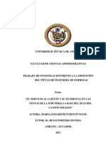 El Servicio Al Cliente y Su Incidencia en Las Ventas en Las Industrial