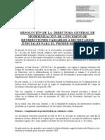 Resolucion Retribuciones Variables 1er Semestre 2008