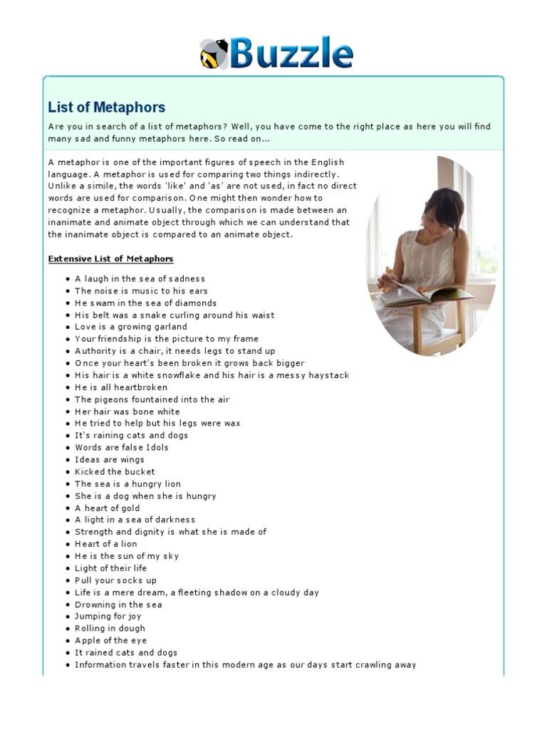 List of Metaphors | Figures Of Speech | Rhetorical Techniques