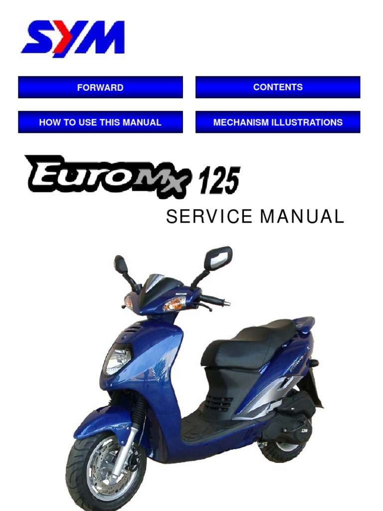 Sym vs125 vs 125 125cc scooter factory workshop service repair.