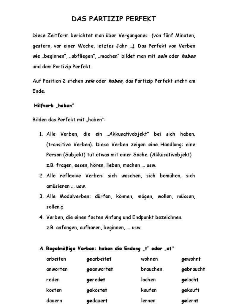 partizip 2 deutsch kennenlernen