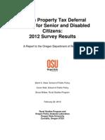 Oregon State University study of senior property tax deferral program