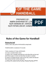 Rules of the Game for Handball