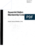 Squamish Nation Membership Codes Results Survey of Members 1996
