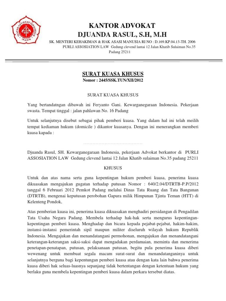 Contoh Surat Kuasa Khusus Advokat