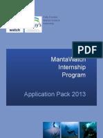MantaWatch Internship Program - Application Pack 2013