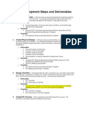 Etl Process Definitions And Deliverables Specification Technical Standard Computer Engineering