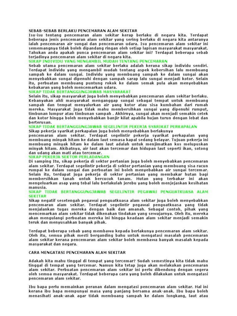 Isu Pencemaran Alam Sekitar 3 Printed All