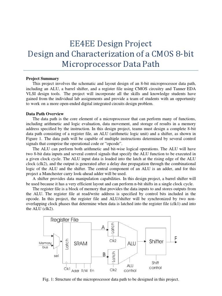 Design And Characterization Of A Cmos 8 Bit Microprocessor Data Path Circuit Diagram Alu Computer Hardware Engineering