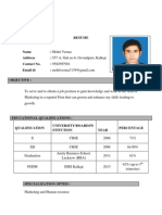 Resume of Mohit Verma, PGDM VI a, Roll No 42 - Copy