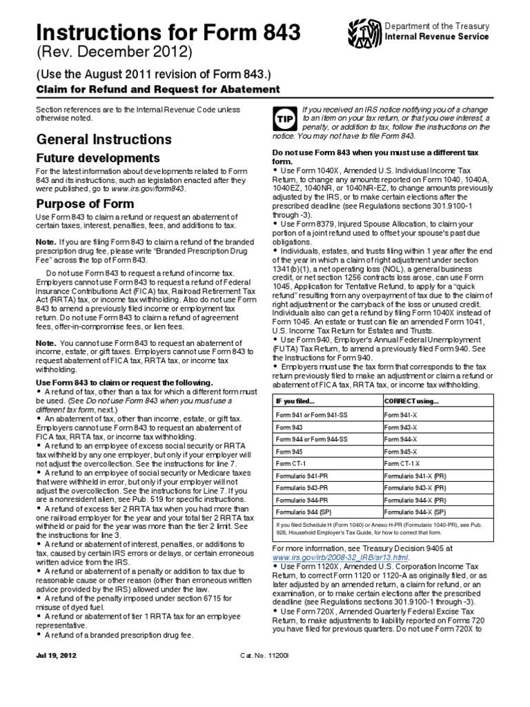 i843 | Tax Refund | Irs Tax Forms