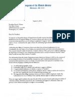 President Obama Drones Letter 3.11.2013