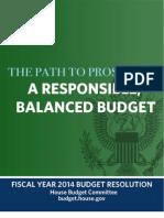 Responsible Balance Budget 2014 Resolution Paul Ryan