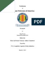 Testimony of VVA Presented by John Rowan, National President/CEO