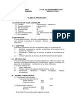 Syllabus Irrigaciones - 2012, Ing. Civil 2010