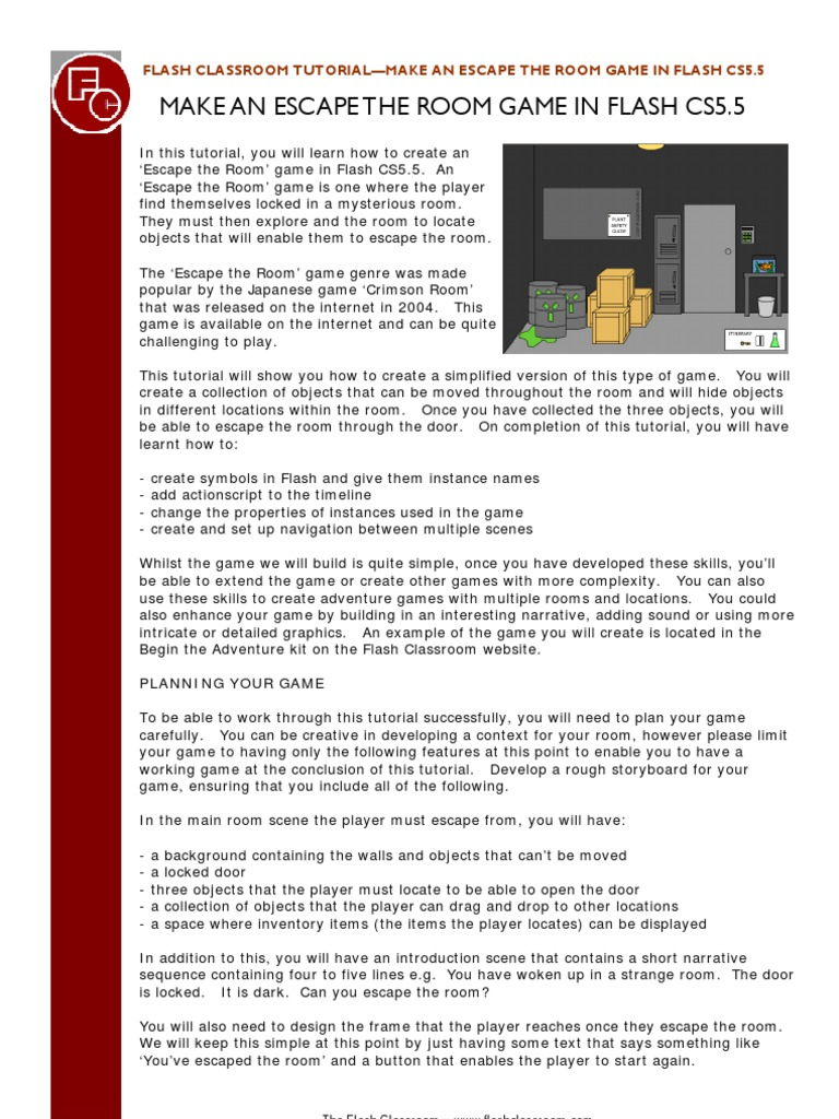 escape the room | Adobe Flash | Action Script