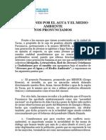 PRONUNCIAMIENTO DE LA ORGANIZACIÓN JOVENES POR EL AGUA Y EL MEDIO AMBIENTE
