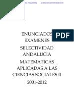 94997777 Enunciados Examenes Selectividad Matematicas Aplicadas Ciencias Sociales II Andalucia 2001 2011