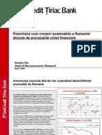 Potentialul Unei Cresteri Sustenabile a Romaniei Dincolo de Provocarile Crizei Financiare