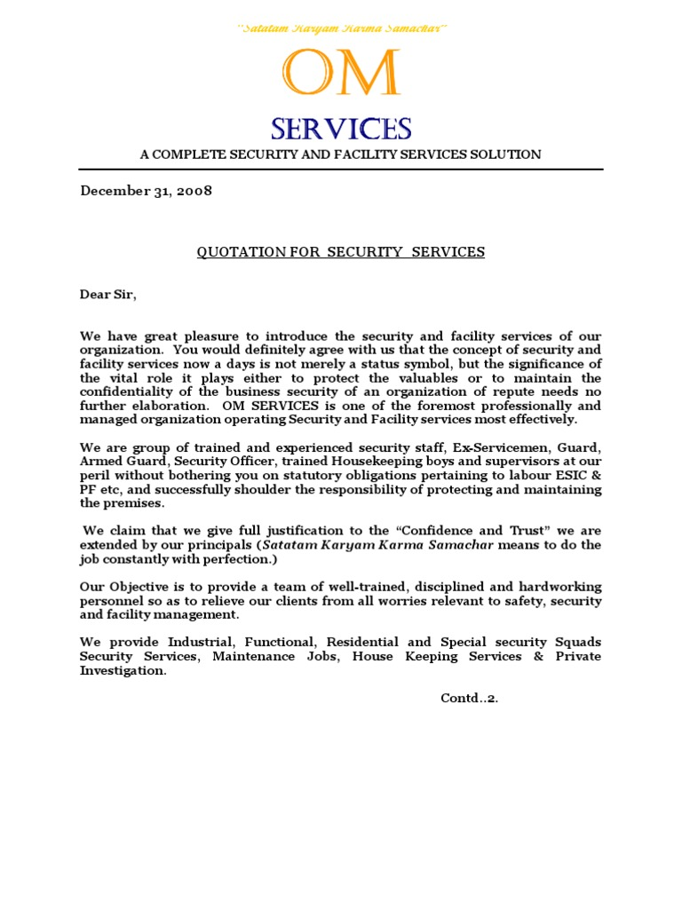 professional greetings for cover letters - om services security guard labour