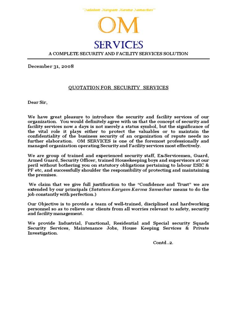 Om services quotationc security guard labour altavistaventures Gallery