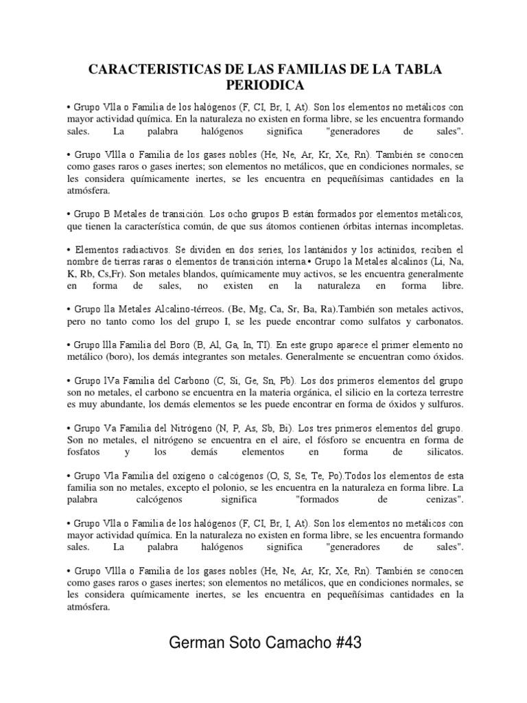 Caracteristicas de las familias de la tabla periodica urtaz Gallery
