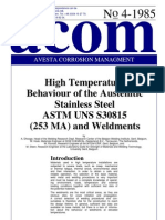 acom85_4  High Temperature Behaviour of the Austenitic SS UNS S30815 (253 MA) & Weldments .pdf