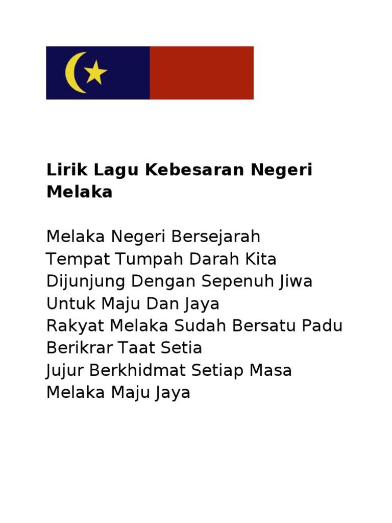 Lirik Lagu Kebesaran Negeri Melaka