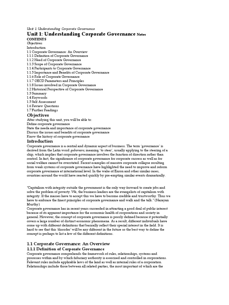 Corporate Governance Notes Unit i   Corporate Governance   Governance