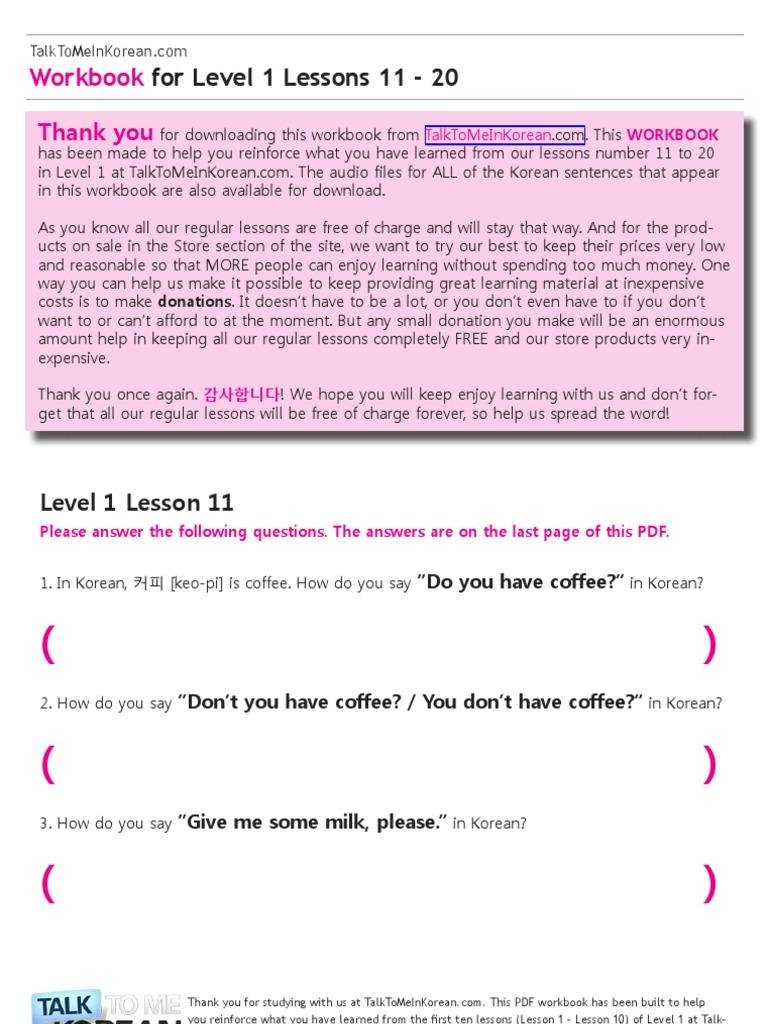 Talk to me in korean workbook level 2 pdf