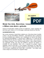 Messi Faz Dois, Barcelona 'Renasce' e Elimina o Milan Com Show e Goleada