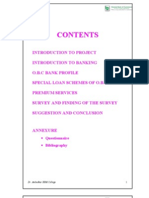 Introduction To Project Introduction To Banking O B C Bank Profile