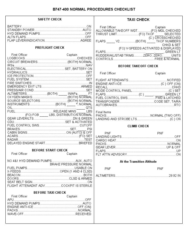 B747-400 Normal Procedures Checklist Taxi Check