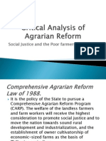 Critical Analysis of Agrarian Reform