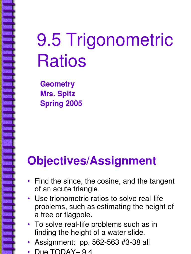 9 5 Trigonometric Ratios | Trigonometric Functions | Sine